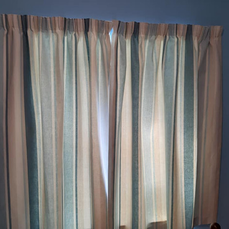 Blue Striped Pencil Pleat Curtains