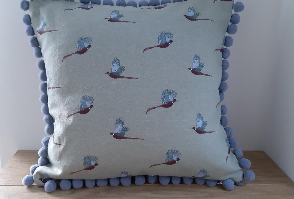 "Pheasant 16""x16"" Pom Pom Cushion, Handmade in Sophie Allport Fabric"