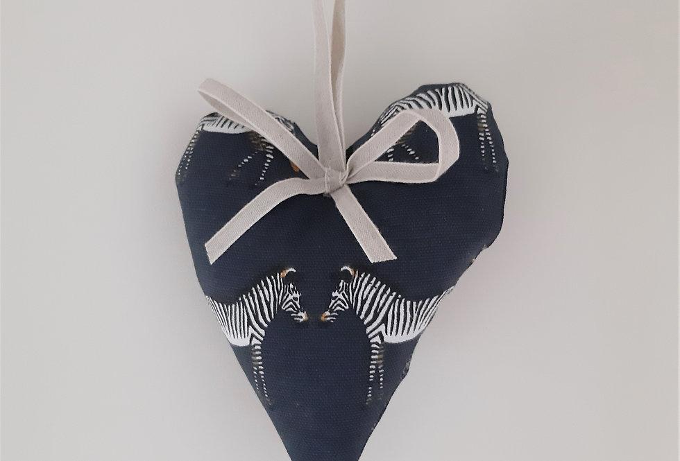 Zebra Hanging Heart, Handmade in Sophie Allport Fabric