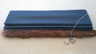 Interlined wool roman blind with fake fur trim