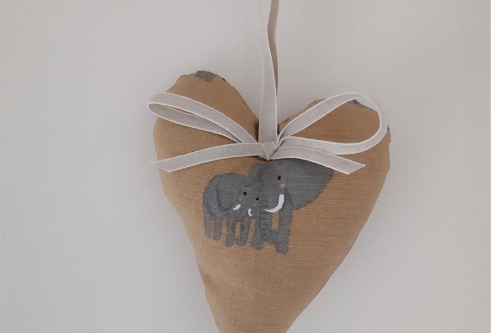 Elephant Hanging Heart, Handmade in Sophie Allport Fabric