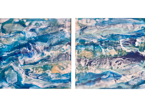 Surf diptych - 8 x 16 x 1 inches