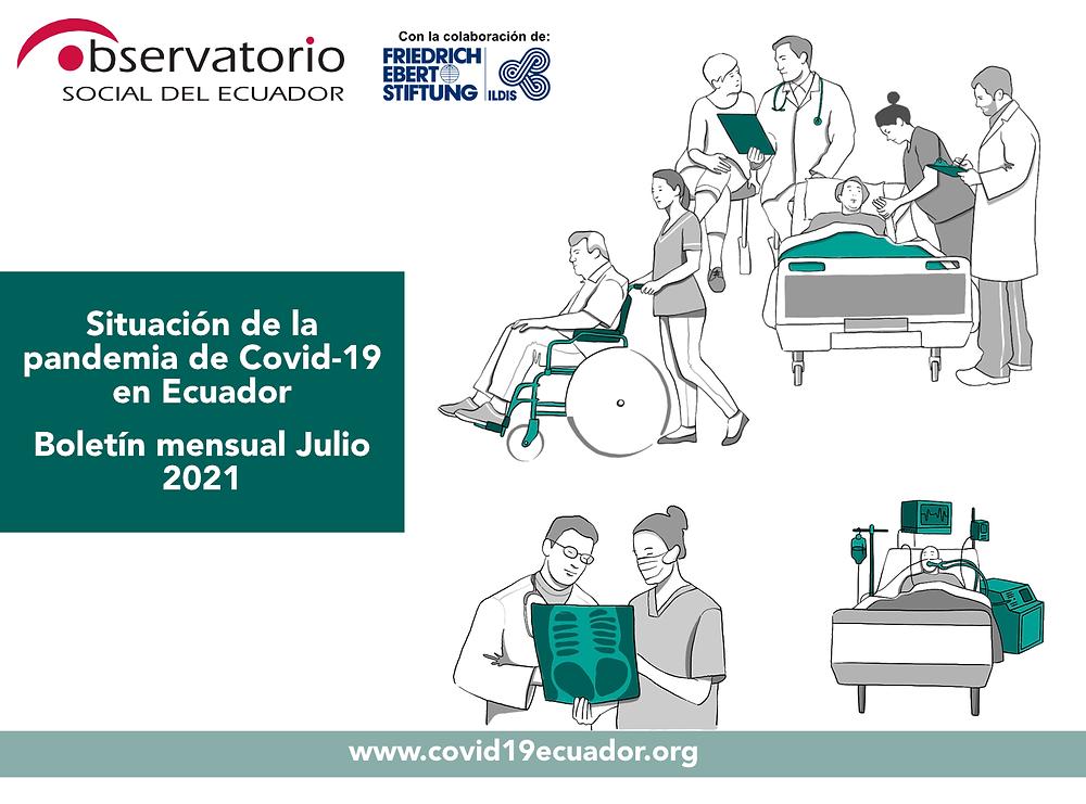 Ilustración de varias situaciones de personas en atención médica y cuidados de salud. Logos del Observatorio Social del Ecuador y FES Ildis.