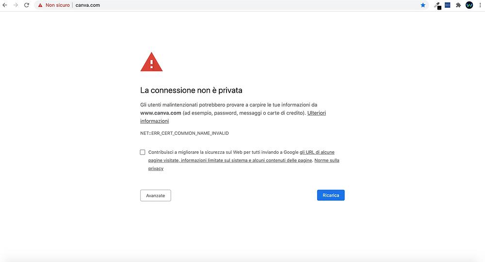 Schermata di CANVA possibile attacco hacker