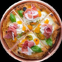 pizza di pizzeria in trasparente divisa
