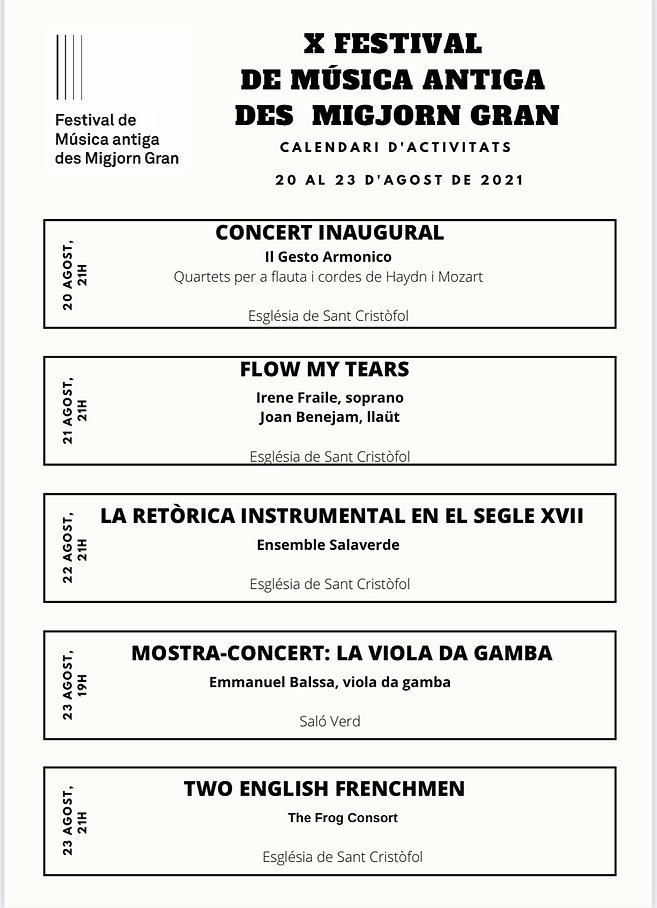 CALENDARI FESTIVAL DE MÚSICA ANTIGA DES