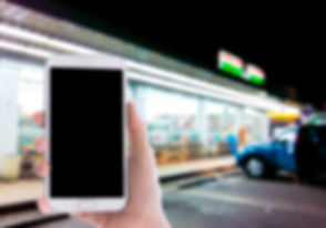 Man use mobile phone, blur image of outs