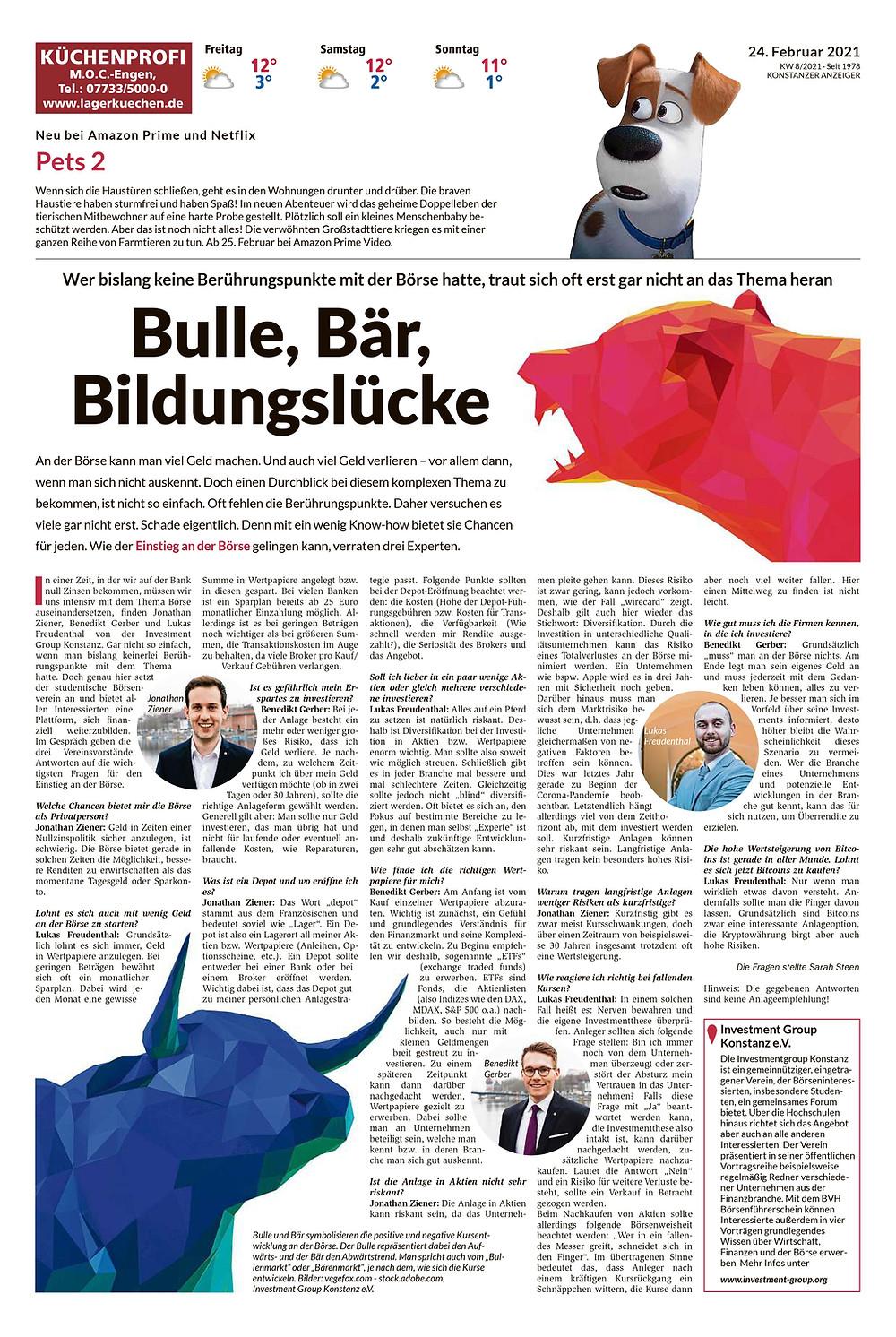 Zeitungsausschnitt aus dem Konstanzer Anzeiger, Ausgabe vom 24.02.2021. Interview mit Vorstandsmitgliedern der Investment Group Konstanz zum Einstieg an der Börse.