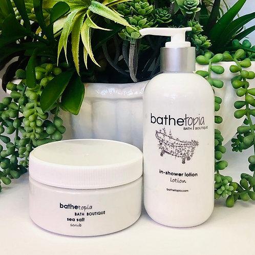 salt scrub & in shower lotion duo deal