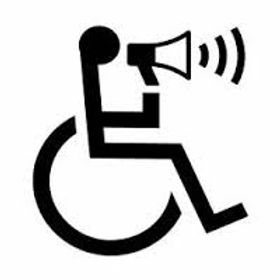 A wheelchair accessibile symbol uses a megaphone to speak