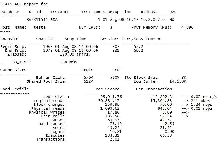 Amostra de um Statspack Report