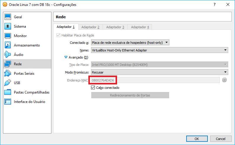 Imagem 01 - MAC Address da placa de rede da VM