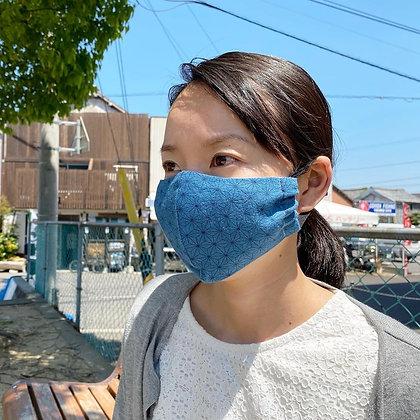 麻の葉マスク(麻素材×藍染)