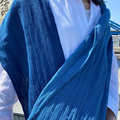 藍染ストール(リネン×コットン)