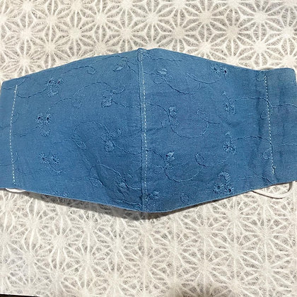 藍染清涼マスク(刺繍入り)