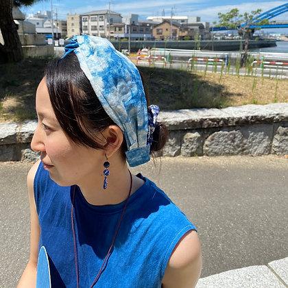 藍染ヘアバンド(麻素材)