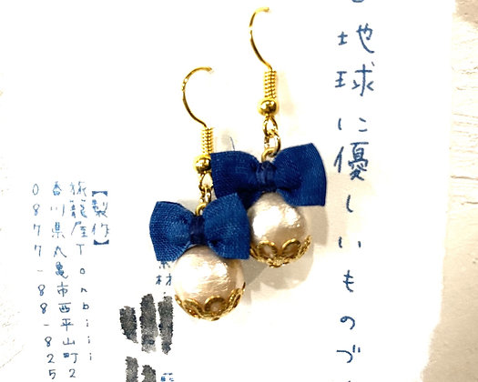 藍染布とコットンパール ピアス