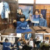 #藍染体験 _小学校一年生もお母さんと一緒に出来た✌️_筆を使う迷いのなさにあっ