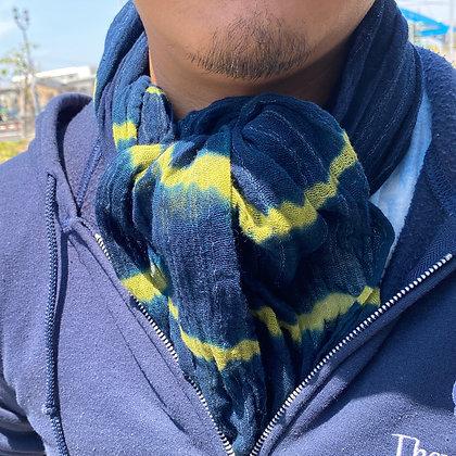 藍染ストール(藍×黄色)