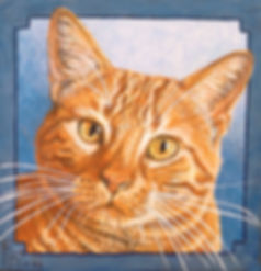 Hand painted cat portrait on canvas in acrylic of Leo, a ginger tabby tomcat. Painted by cat and pet portrait artist Fiona Purdy.