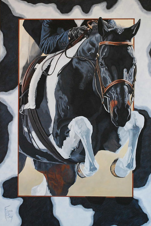 Handpainted horse portrait of First Class Ticket, a Paint Horse Hunter Jumper. Painted by horse artist Fiona Purdy, Scottsdale, Arizona USA