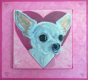 Dog portrait painting of Lilly a younf Chihuahua with custom individualized painted frame by Fiona Purdy dog painting artist
