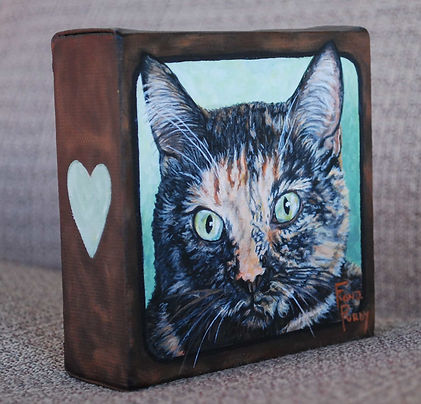 Custom hand painted cat portrait of Pogo a short hair tortoiseshell cat.  Created from a cat photo by professional pet portrait artist Fiona Purdy