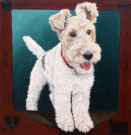 Custom pet portrait of Casey, a female Wire Haired Terrier dog. Painted on canvas in acrylic from a photo.