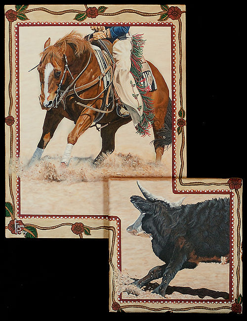 Acrylic on two canvases horse portrait of Badger, hand painted by professional horse portraitist Fiona Purdy.