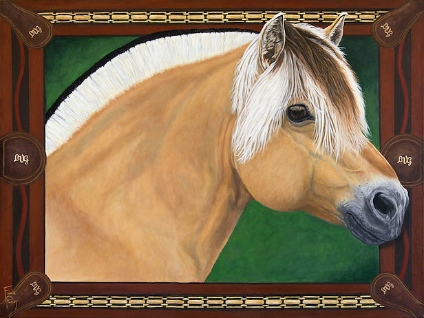 Custom painted horse portrait of Prydarson, a Fjord Horse stallion, painted by horse portrait artist Fiona Purdy, USA