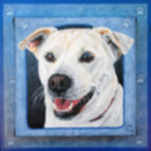 Custom pet portrait painting of Casper, a Sharpei/Lab Mix. Acrylic on canvas, with Fiona Purdy trademark border and custom detailed painted frame.
