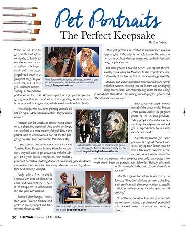 Magazine Article about Fiona Purdy's Pet Portrait services