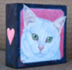 Handpainted pet portrait of Rosie, a beautiful white short haired cat.  Painted by cat artist Fiona Purdy, Scottsdale, Arizona USA
