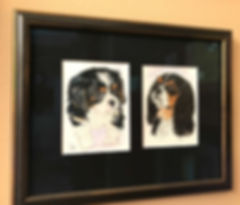 Painted portrait of King Charles Cavalier Dog