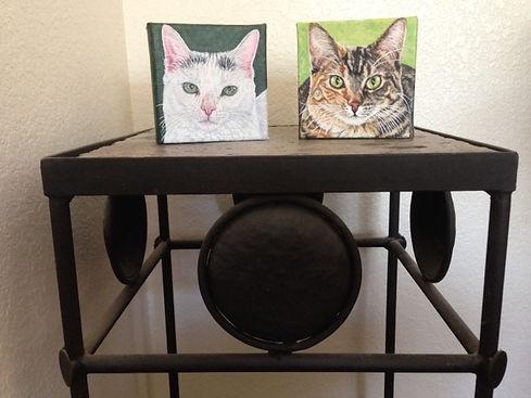 Fine Art Painted Cat portraits of Avon & Little