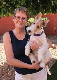 Pet portrait artist Fiona Purdy and her Wire Fox Terrier Skye