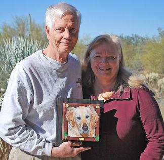 Golden Retriever dog painted portrait