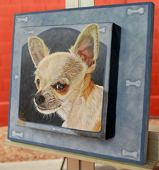 Custom framed painted dog portrait