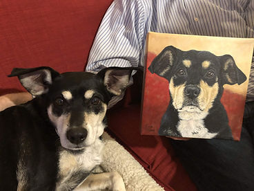 Dog portrait painting with reference photo