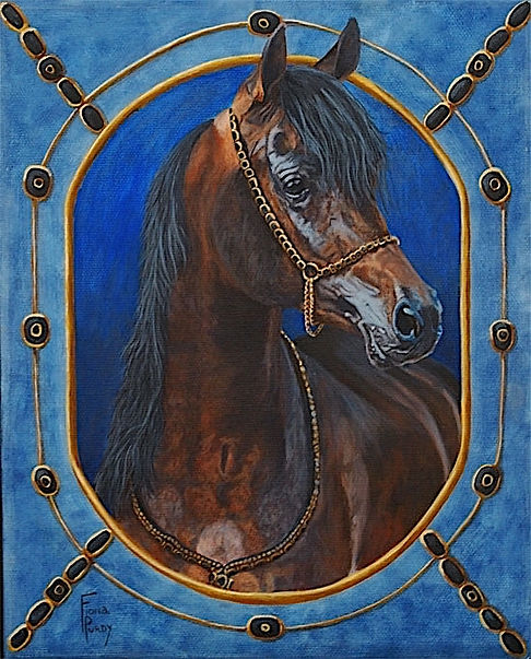 Arabian horse portrait of Zahbaad Zahir with custom made Arabian tack.  Acrylic horse painting on canvas