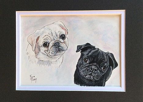 Custom Pet Portraits Pug Dogs