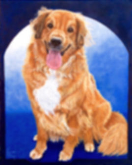 Custom painted dog portrait of Dooby, a Golden Retriever, painted by dog portrait artist Fiona Purdy, USA
