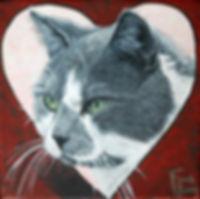 Handpainted Portrait Grey Cat