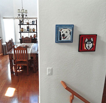 Custom painted framed portraits of two dogs