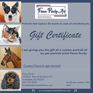 Fiona Purdy pet portrait gift certificate