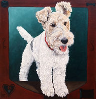 Wirefox Terrier dog pet portrait on canvas
