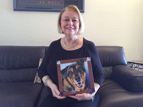 Pet portrait of Franklin, a Rottweiler mix, created by professional pet artist Fiona Purdy