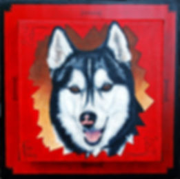 Painted pet portrait of Sasha a Husky with custom painted frame
