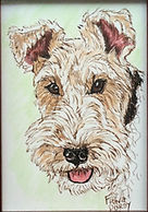 Custom hand painted Wire Fox Terrier painting