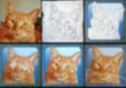 Progression of a painted Cat Portrait